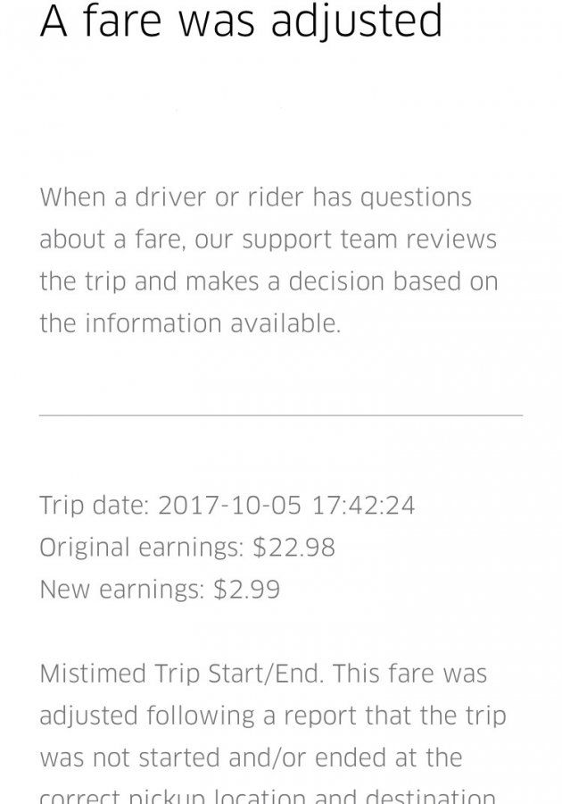 FARE ADJUSTED   Uber Drivers Forum