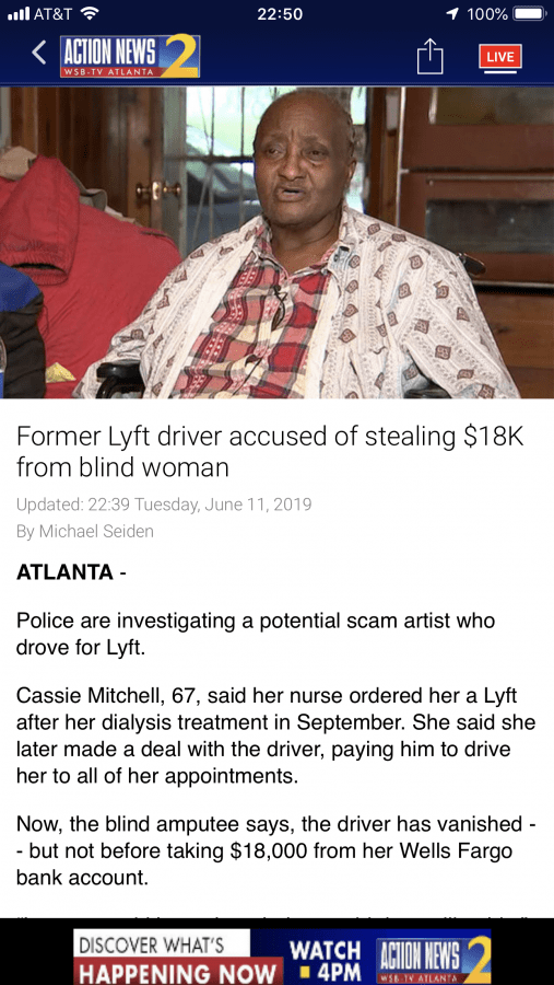 Former Lyft Driver Scams 18K from blind woman in Atlanta