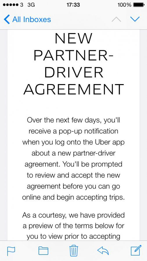 Ubers New Partnerdriver Agreement Uber Drivers Forum