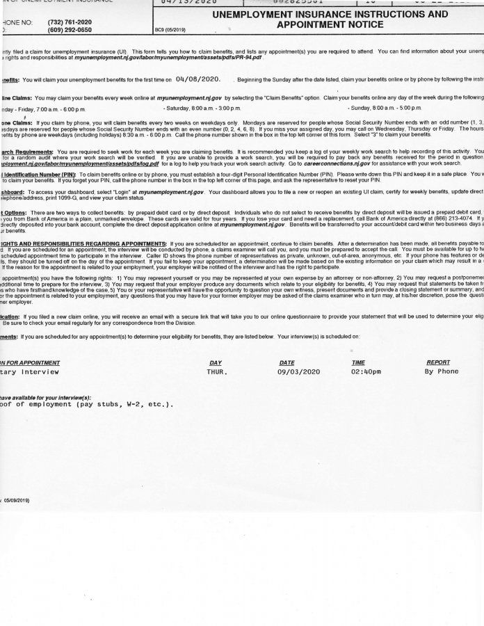 Unemployment Insurance Instructions And Appointment Notice Nj
