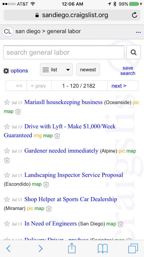 Uber And Lyft Advertising In General Labor Section On Craigslist