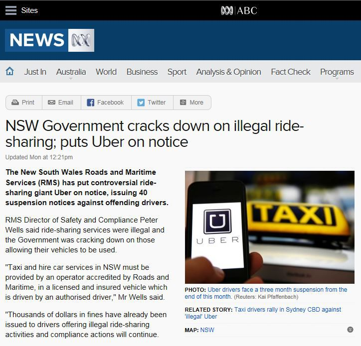 NSW Government cracks down on illegal ride-sharing; puts Uber on notice.JPG