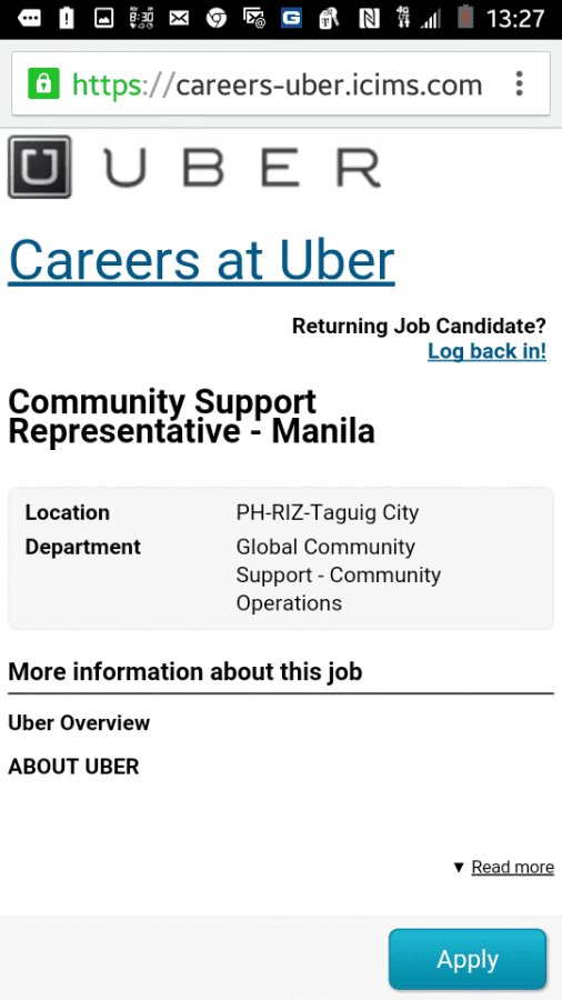 All communications with uber come from the Philippines, at