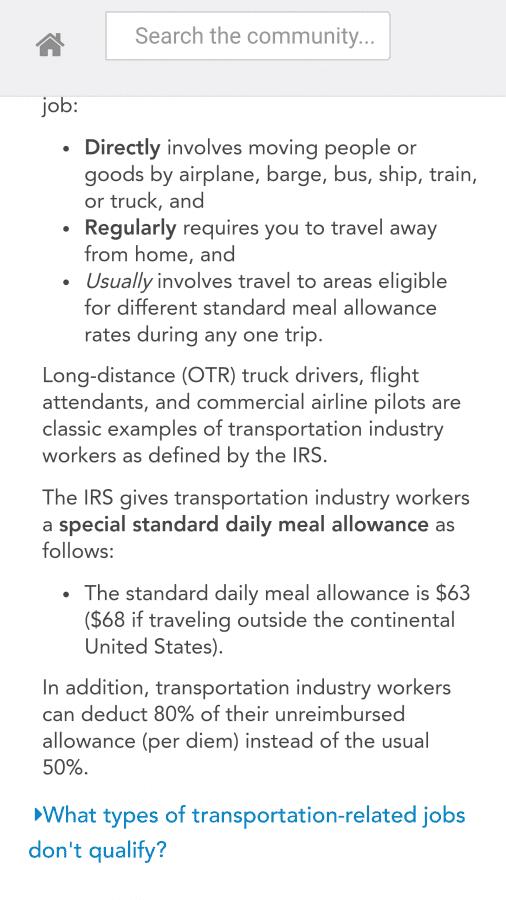 per diem for truck drivers on turbotax