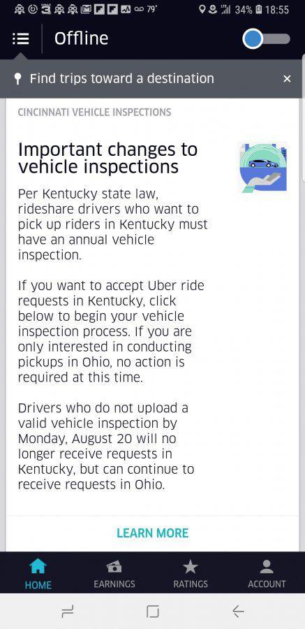 Uber Mandates Ohio Drivers Get Kentucky Vehicle Inspection