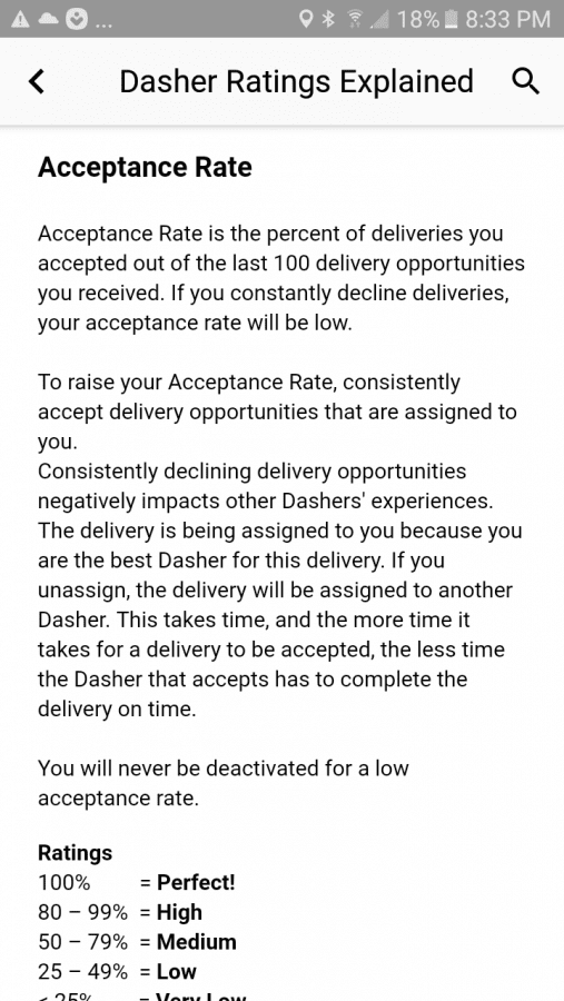 can you get deactivated from doordash from having a low
