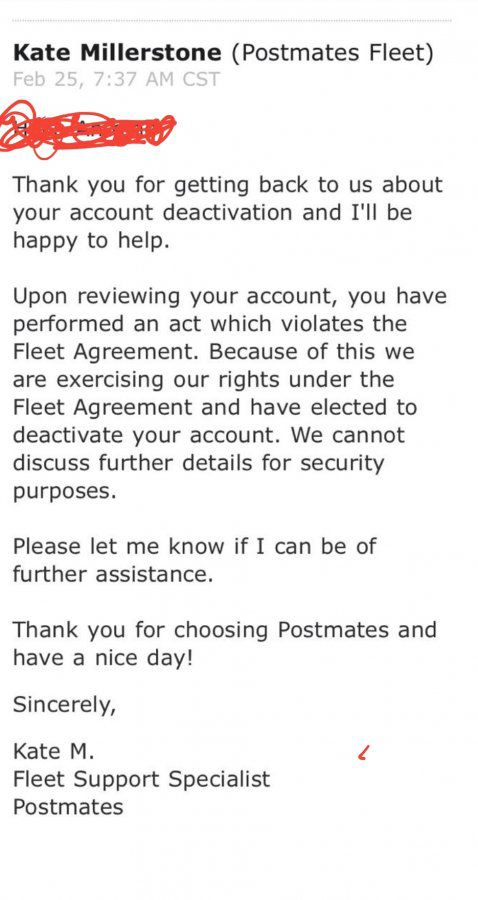 Postmates Deactivation     But they dont tell you why